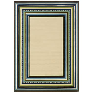 StyleHaven Border Ivory/ Blue Indoor/Outdoor Machine-made Polypropylene Area Rug (3'7