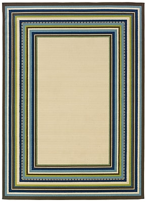 "Border Ivory/ Blue Indoor/Outdoor Machine-made Polypropylene Area Rug (5'3"" X 7'6"")"