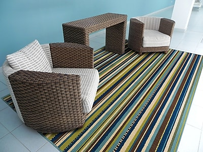 StyleHaven Stripe Blue/ Brown Indoor/Outdoor Machine-made Polypropylene Area Rug (5'3