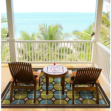 StyleHaven-Geometric Brown/ Blue Indoor/Outdoor Machine-made Polypropylene Area Rug (5'3