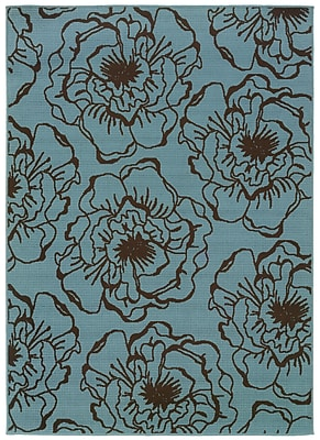 StyleHaven - Floral Blue/ Brown Indoor/Outdoor Machine-Made Polypropylene Area Rug (7'10