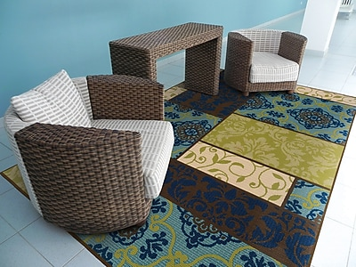 StyleHaven Geometric Brown/ Blue Indoor/Outdoor Machine-made Polypropylene Area Rug (7'10