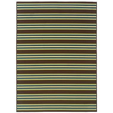 StyleHaven Stripe Brown/ Green Indoor/Outdoor Machine-made Polypropylene Area Rug (6'7