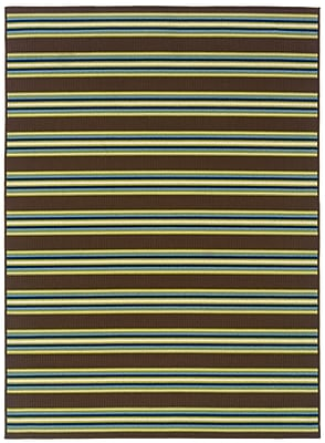StyleHaven Stripe Brown/ Green Indoor/Outdoor Machine-made Polypropylene Area Rug (5'3