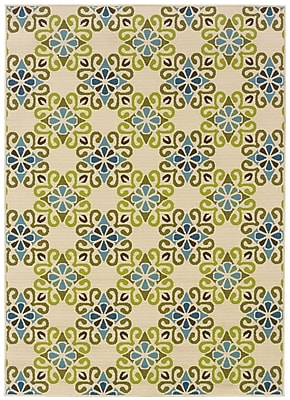 StyleHaven Floral Ivory/ Blue Indoor/Outdoor Machine-made Polypropylene Area Rug (6'7