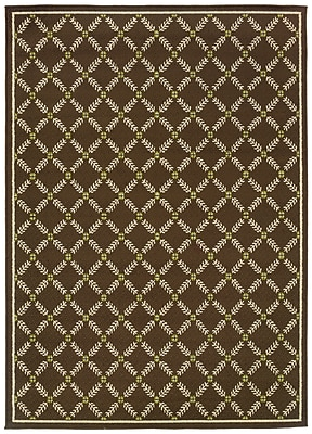 StyleHaven - Geometric Brown/ Ivory Indoor/Outdoor Machine-Made Polypropylene Area Rug (5'3