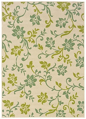 StyleHaven-Floral Ivory/ Green Indoor/Outdoor Machine-made Polypropylene Area Rug (5'3