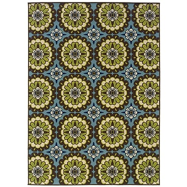StyleHaven-Floral Blue/ Brown Indoor/Outdoor Machine-made Polypropylene Area Rug (7'10