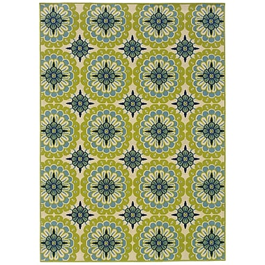 StyleHaven Floral Green/ Ivory Indoor/Outdoor Machine-made Polypropylene Area Rug (5'3