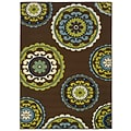 "StyleHaven Medallion Brown/ Green Indoor/Outdoor Machine-made Polypropylene Area Rug (3'7"" X 5'6"")"