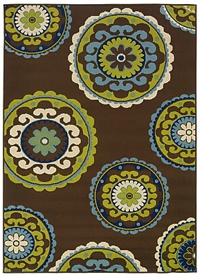 StyleHaven Medallion Brown/ Green Indoor/Outdoor Machine-made Polypropylene Area Rug (5'3