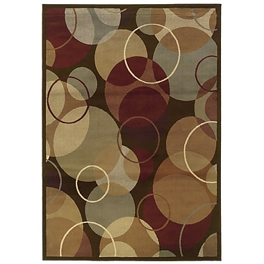 StyleHaven Geometric Brown/ Gold Indoor Machine-made Polypropylene Area Rug (3'3