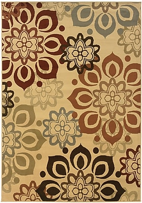 StyleHaven Floral Beige/ Rust Indoor Machine-made Polypropylene Area Rug (3'3