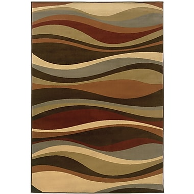 StyleHaven Abstract Brown/ Green Indoor Machine-made Polypropylene Area Rug (5'3