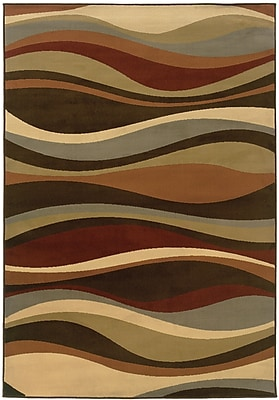StyleHaven Abstract Brown/ Green Indoor Machine-made Polypropylene Area Rug (3'3