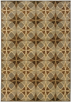 Geometric Blue/ Beige Indoor Machine-made Polypropylene Area Rug (5'3