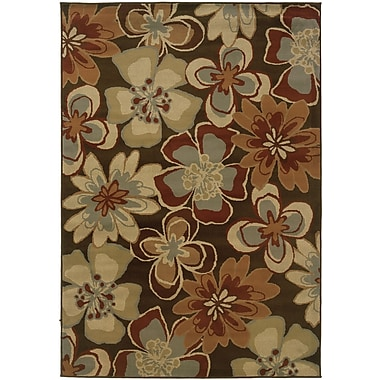 StyleHaven Floral Brown/ Gold Indoor Machine-made Polypropylene Area Rug (3'3