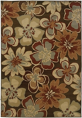 StyleHaven Floral Brown/ Gold Indoor Machine-made Polypropylene Area Rug (5'3