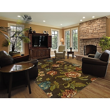 StyleHaven Floral Brown/ Green Indoor Machine-made Polypropylene Area Rug (5' X 7'6