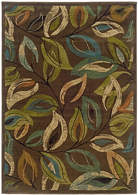 StyleHaven Botanical Brown/ Green Indoor Machine-made Polypropylene Area Rug (7'10