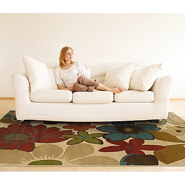 StyleHaven Floral Ivory/ Gold Indoor Machine-made Polypropylene Area Rug (5' X 7'6