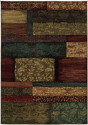 StyleHaven-Geometric Brown/ Teal Indoor Machine-made Polypropylene Area Rug (6'7