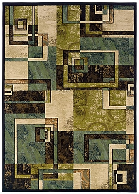 StyleHaven Geometric Beige/ Blue Indoor Machine-made Polypropylene Area Rug (7'10