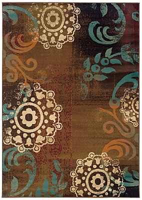 """Abstract Brown/ Blue Indoor Machine-made Polypropylene Area Rug (6'7"""" X 9'6"""")"""