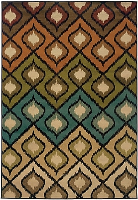 StyleHaven Geometric Beige/ Gold Indoor Machine-made Polypropylene Area Rug (5' X 7'6