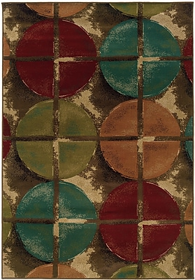 StyleHaven Geometric Brown/ Teal Indoor Machine-made Polypropylene Area Rug (5' X 7'6
