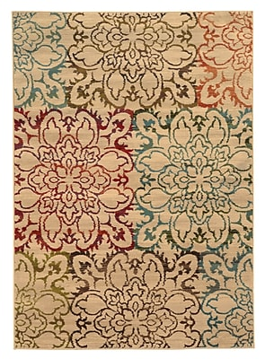 Floral Ivory/ Multi Indoor Machine-made Polypropylene Area Rug (6'7