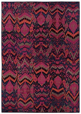 StyleHaven Abstract Tribal Blue/ Pink Indoor Machine-made Polypropylene Area Rug (4' X 5'9