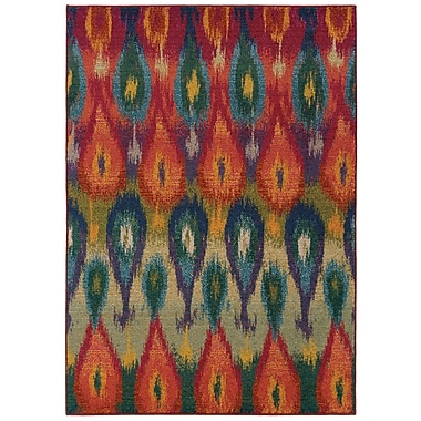 StyleHaven Abstract Ikat Multi/ Red Indoor Machine-made Polypropylene Area Rug (5'3