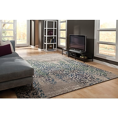 StyleHaven Distressed Abstract Grey/ Blue Indoor Machine-made Polypropylene Area Rug (6'7