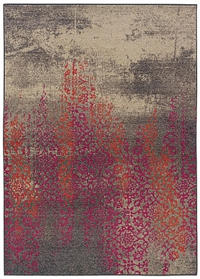 StyleHaven Distressed Abstract Grey/ Pink Indoor Machine-made Polypropylene Area Rug (6'7