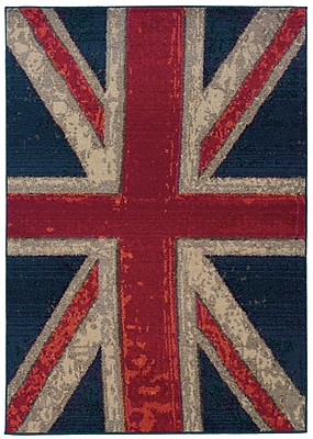 StyleHaven Stylized Union Jack Navy/ Pink Indoor Machine-made Polypropylene Area Rug (5'3