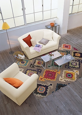 StyleHaven Tribal Grey/ Multi Indoor Machine-made Polypropylene Area Rug (4' X 5'9