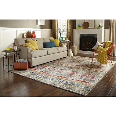 StyleHaven Distressed Abstract Multi/ Grey Indoor Machine-made Polypropylene Area Rug (6'7