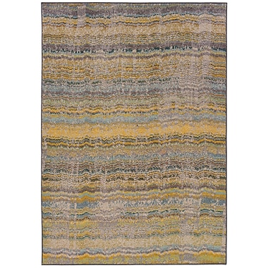 StyleHaven Distressed Abstract Yellow/ Grey Indoor Machine-made Polypropylene Area Rug (5'3