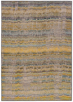 Distressed Abstract Yellow/ Grey Indoor Machine-made Polypropylene Area Rug (4' X 5'9
