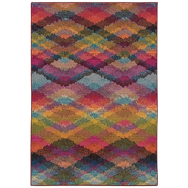 StyleHaven Geometric Multi/ Pink Indoor Machine-made Polypropylene Area Rug (7'10