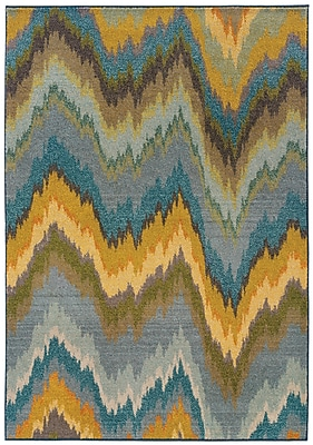 StyleHaven Abstract Yellow/ Blue Indoor Machine-made Polypropylene Area Rug (4' X 5'9