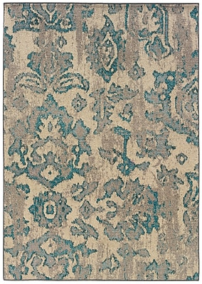 Distressed Floral Ivory/ Blue Indoor Machine-made Polypropylene Area Rug (7'10