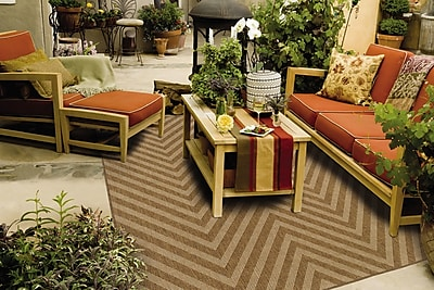 StyleHaven Chevron Tan/ Light Tan Indoor/Outdoor Machine-made Polypropylene Area Rug (6'7