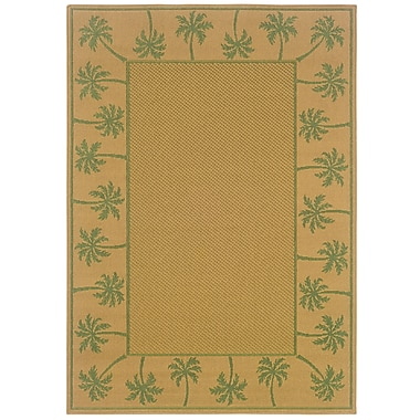 StyleHaven Outdoor Beige/ Green Indoor/Outdoor Machine-made Polypropylene Area Rug (7'3