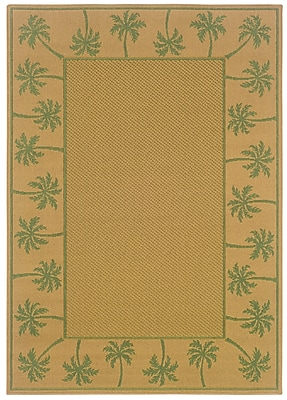 StyleHaven Outdoor Beige/ Green Indoor/Outdoor Machine-made Polypropylene Area Rug (6'3