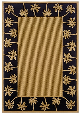 StyleHaven - Outdoor Beige/ Black Indoor/Outdoor Machine-Made Polypropylene Area Rug (5'3