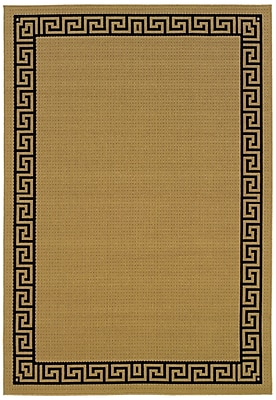 StyleHaven Outdoor Beige/ Black Indoor/Outdoor Machine-made Polypropylene Area Rug (7'3