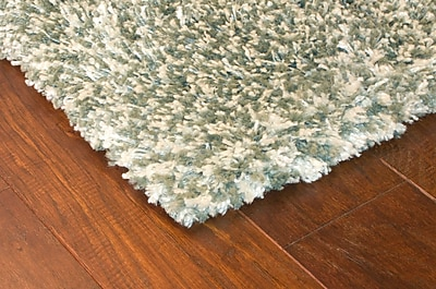 Shag Blue/ Ivory Indoor Machine-made Polypropylene Area Rug (5'3