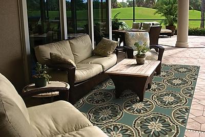 StyleHaven Floral Blue/ Ivory Indoor/Outdoor Machine-made Polypropylene Area Rug (5'3